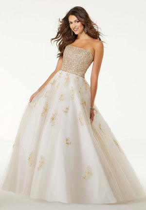 Morilee 45061 prom dress images.  Morilee 45061 is available in these colors: White Gold, Blush Gold.