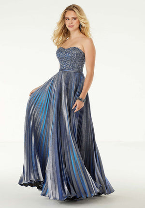 Morilee 45063 prom dress images.  Morilee 45063 is available in these colors: Metallic Navy, Metallic Blush.