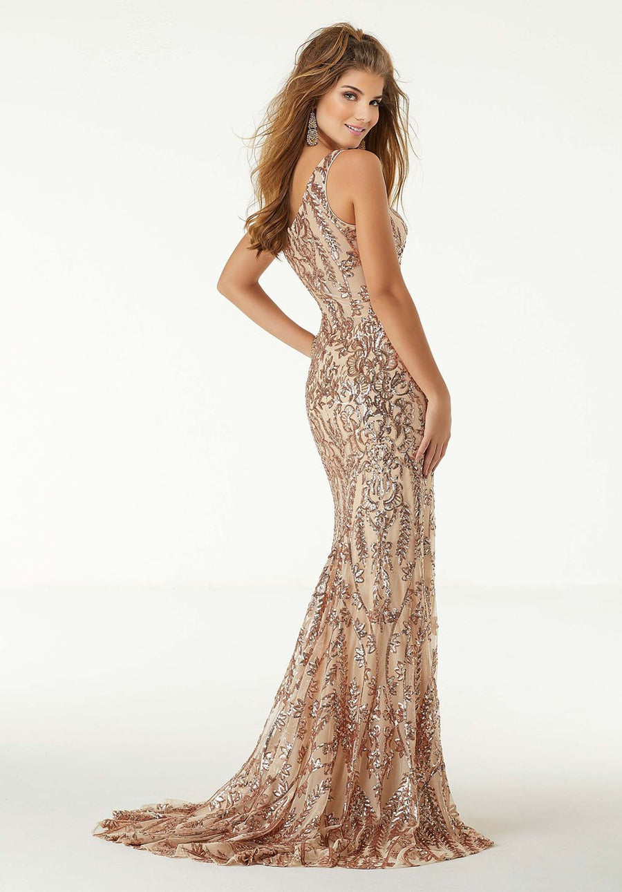 Morilee 45067 prom dress images.  Morilee 45067 is available in these colors: Rose Gold, Black.