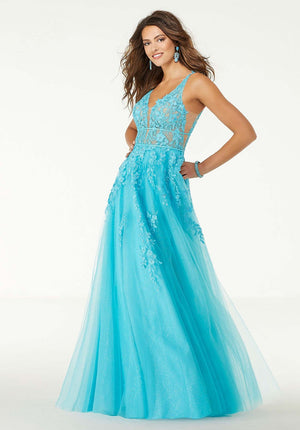 Morilee 45069 prom dress images.  Morilee 45069 is available in these colors: Scuba Blue, Blush.