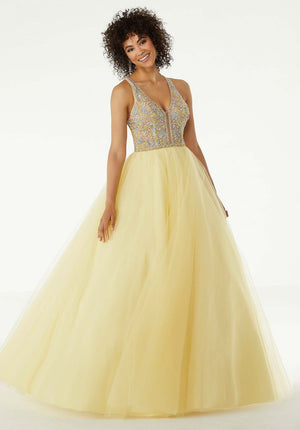 Morilee 45072 prom dress images.  Morilee 45072 is available in these colors: Lemonade, French Blue, Blush.