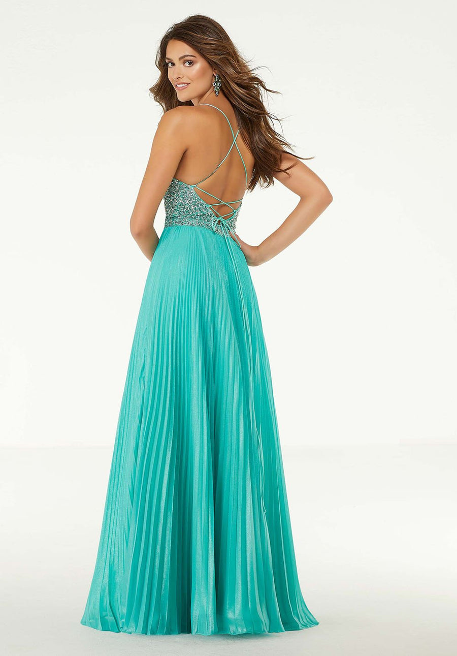 Morilee 45073 prom dress images.  Morilee 45073 is available in these colors: Teal, Yellow, Coral.