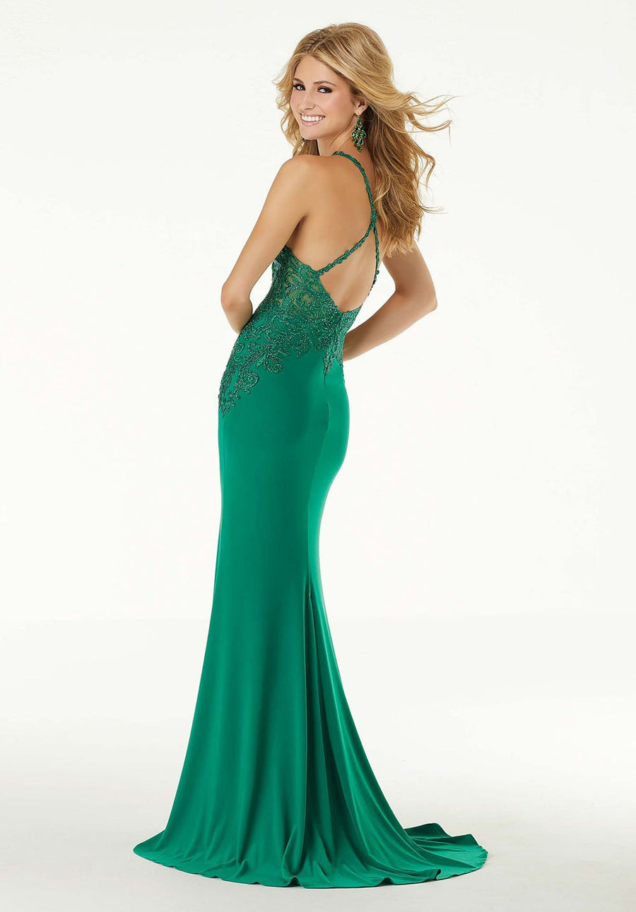 Morilee 45077 prom dress images.  Morilee 45077 is available in these colors: Green, Navy.