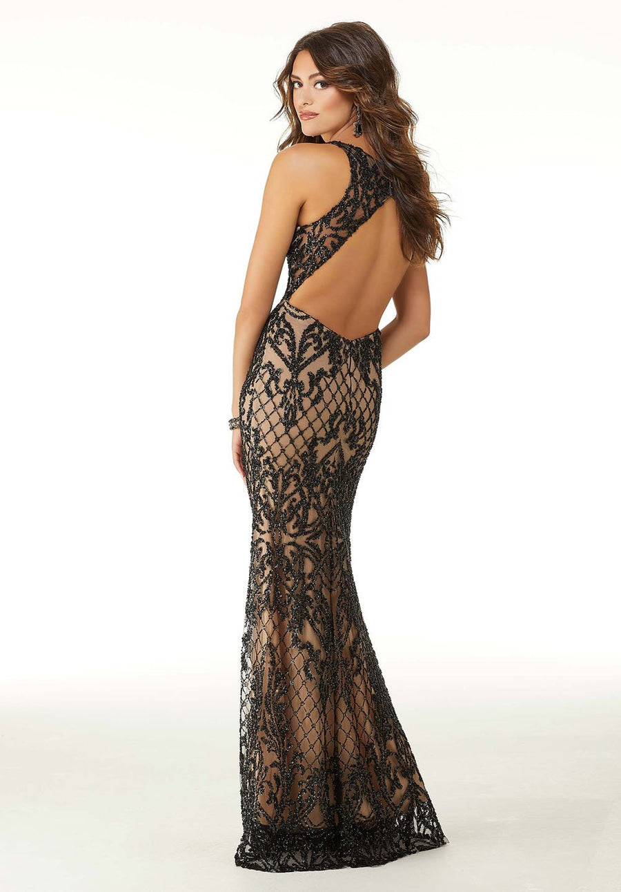 Morilee 45078 prom dress images.  Morilee 45078 is available in these colors: Black Nude.
