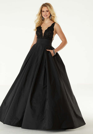 Morilee 45080 prom dress images.  Morilee 45080 is available in these colors: Black, Wine.