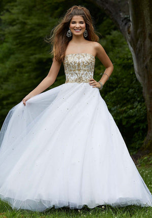 Morilee 45081 prom dress images.  Morilee 45081 is available in these colors: Wine Gold, Black Silver, Ivory Gold.
