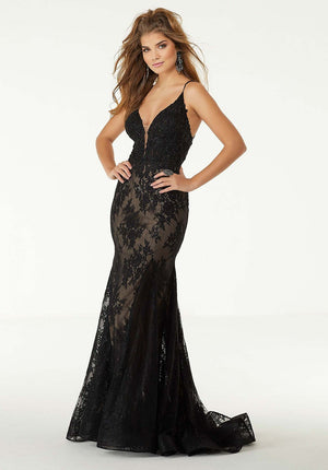 Morilee 45083 prom dress images.  Morilee 45083 is available in these colors: Black Nude, Ivory Nude.