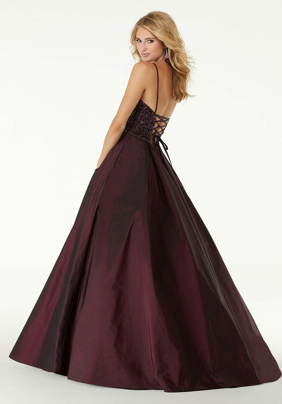 Morilee 45086 prom dress images.  Morilee 45086 is available in these colors: Wine, Black.