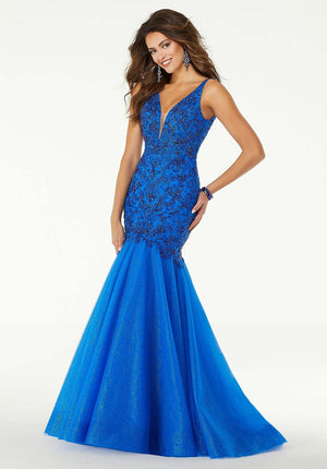 Morilee 45088 prom dress images.  Morilee 45088 is available in these colors: Royal, Champagne Gold.