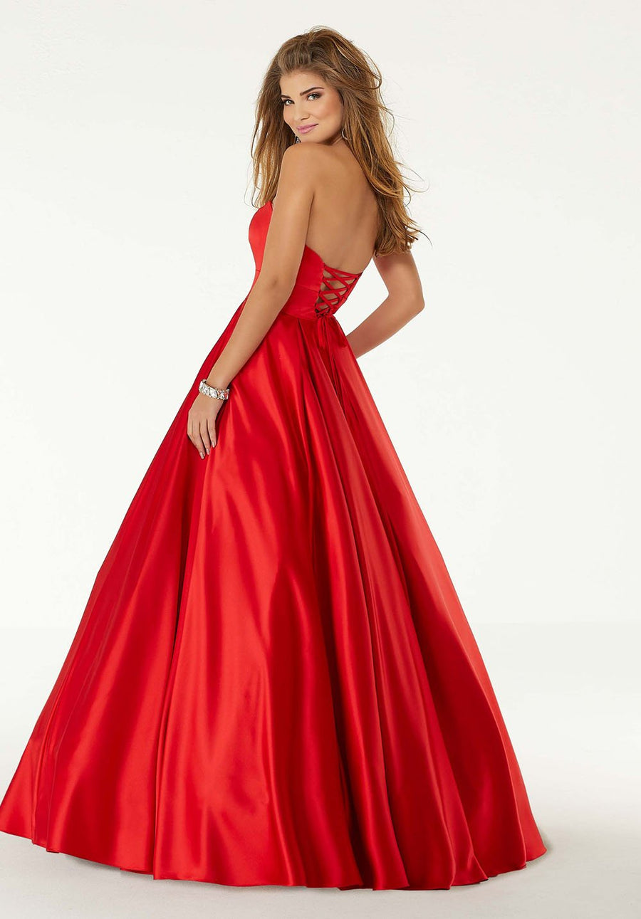 Morilee 45090 prom dress images.  Morilee 45090 is available in these colors: Periwinkle, Yellow, Red.