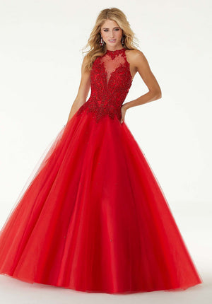 Morilee 45091 prom dress images.  Morilee 45091 is available in these colors: Scarlet, Bahama Blue.