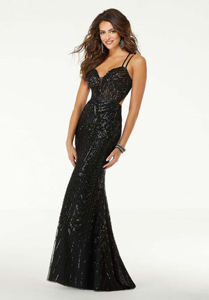 Morilee 45092 prom dress images.  Morilee 45092 is available in these colors: Black, Wine.