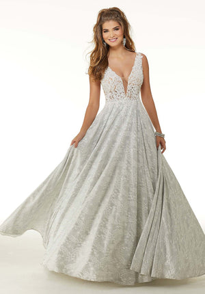 Morilee 45093 prom dress images.  Morilee 45093 is available in these colors: Ivory Silver.