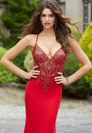 Morilee 45095 prom dress images.  Morilee 45095 is available in these colors: Black, Red.