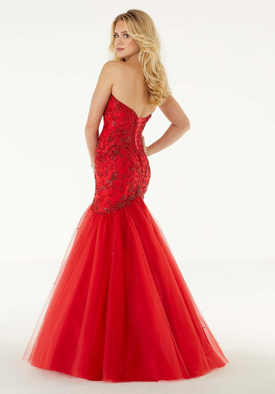 Morilee 45096 prom dress images.  Morilee 45096 is available in these colors: Scarlet, Black.