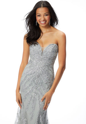 Morilee 46049 prom dress images.  Morilee 46049 is available in these colors: Slate, Silver.
