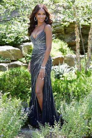 Morilee 43001 prom dress images.  Morilee 43001 is available in these colors: Nude Silver, Black Silver.