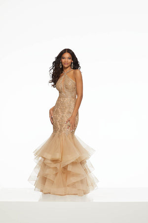 Morilee 43002 prom dress images.  Morilee 43002 is available in these colors: Black, Nude Gold.