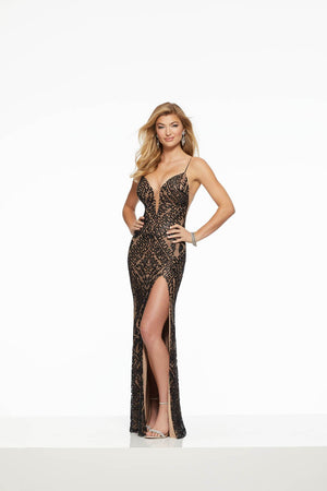 Morilee 43004 prom dress images.  Morilee 43004 is available in these colors: Black Nude, White Nude.