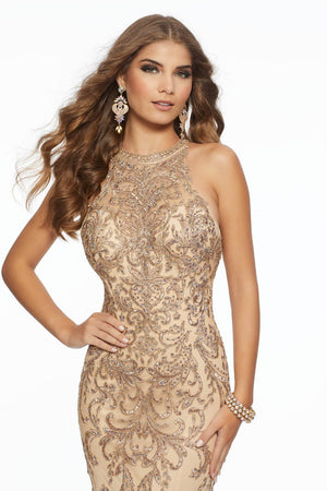 Morilee 43006 prom dress images.  Morilee 43006 is available in these colors: Black Silver, Nude Gold.
