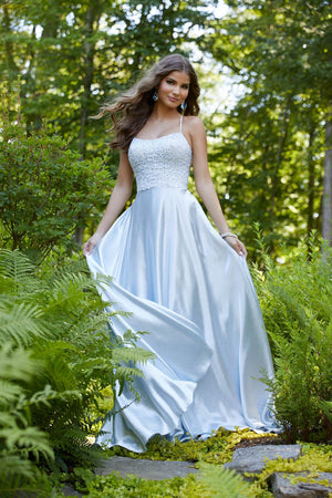 Morilee 43012 prom dress images.  Morilee 43012 is available in these colors: Light Blue, Silver.