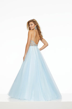 Morilee 43013 prom dress images.  Morilee 43013 is available in these colors: Blush, Champagne, Light Blue.