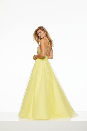 Morilee 43018 prom dress images.  Morilee 43018 is available in these colors: Light Blue, Light Purple, Yellow.