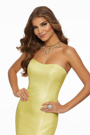 Morilee 43019 prom dress images.  Morilee 43019 is available in these colors: Black, Turquoise, Yellow.
