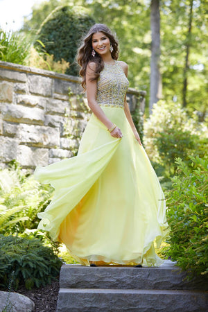 Morilee 43020 prom dress images.  Morilee 43020 is available in these colors: Purple, Royal, Yellow.