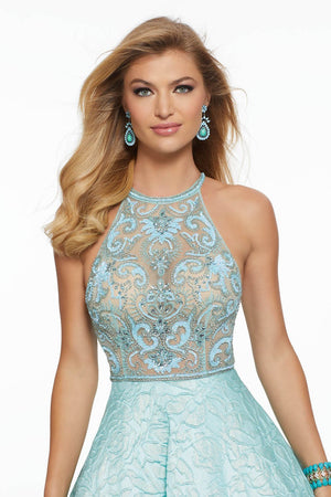 Morilee 43021 prom dress images.  Morilee 43021 is available in these colors: Aqua, Silver, Yellow.