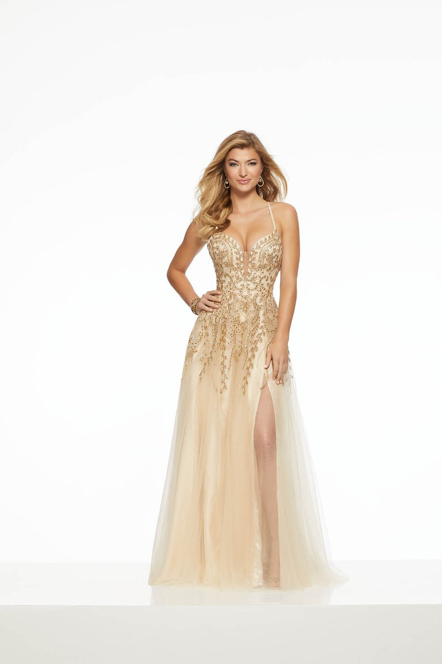 Morilee 43027 prom dress images.  Morilee 43027 is available in these colors: Champagne Gold, Wine.