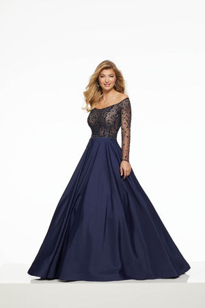 Morilee 43031 prom dress images.  Morilee 43031 is available in these colors: Navy, Wine.