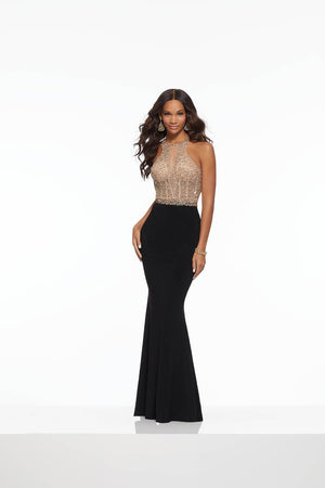 Morilee 43037 prom dress images.  Morilee 43037 is available in these colors: Black Gold, Wine Gold.