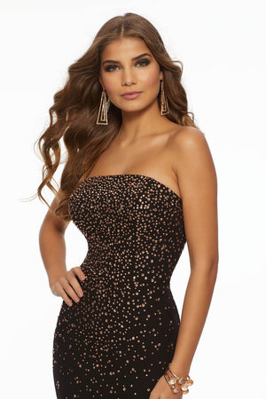 Morilee 43039 prom dress images.  Morilee 43039 is available in these colors: Black Sapphire, Black Rose Gold.