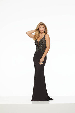 Morilee 43043 prom dress images.  Morilee 43043 is available in these colors: Black, Bright Royal.