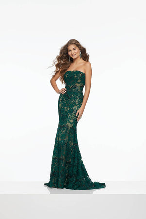 Morilee 43045 prom dress images.  Morilee 43045 is available in these colors: Black Nude, Emerald Nude.