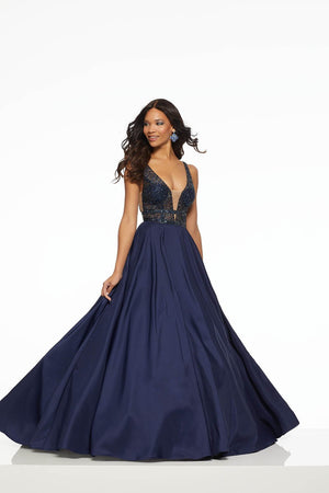 Morilee 43049 prom dress images.  Morilee 43049 is available in these colors: Navy, Wine.