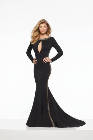 Morilee 43053 prom dress images.  Morilee 43053 is available in these colors: Black, White Gold.