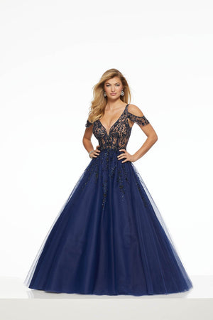 Morilee 43056 prom dress images.  Morilee 43056 is available in these colors: Blush, Navy, Scarlet.