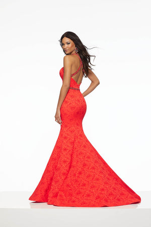 Morilee 43058 prom dress images.  Morilee 43058 is available in these colors: Navy, Bright Red.