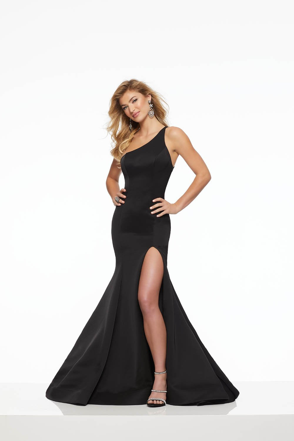 Morilee 43059 prom dress images.  Morilee 43059 is available in these colors: Black, Bright Red.