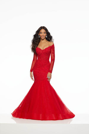 Morilee 43060 prom dress images.  Morilee 43060 is available in these colors: Black, Red.