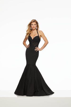 Morilee 43061 prom dress images.  Morilee 43061 is available in these colors: Black, Red, Royal.