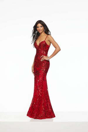 Morilee 43065 prom dress images.  Morilee 43065 is available in these colors: Navy|Red.