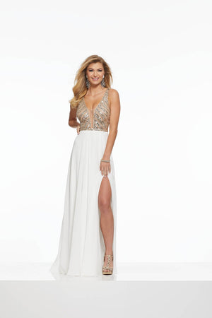 Morilee 43067 prom dress images.  Morilee 43067 is available in these colors: Black Silver, Ivory Nude.