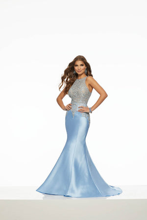 Morilee 43069 prom dress images.  Morilee 43069 is available in these colors: Champagne, Light Blue, Silver.
