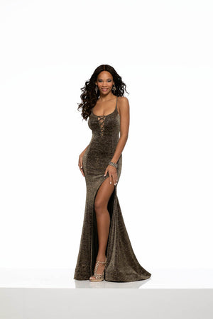 Morilee 43072 prom dress images.  Morilee 43072 is available in these colors: Black Gold, Black Silver.