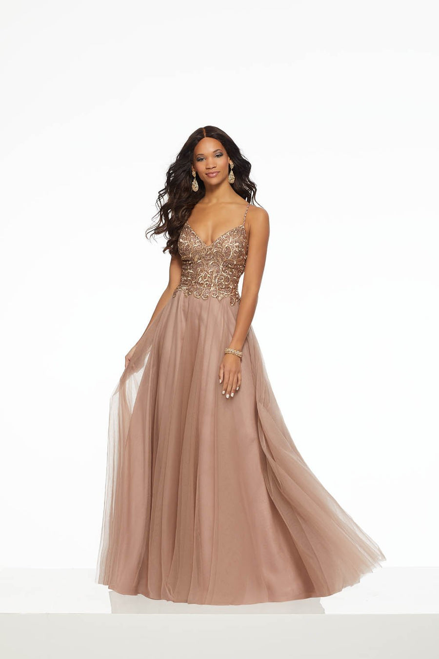 Morilee 43074 prom dress images.  Morilee 43074 is available in these colors: Taupe.