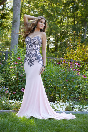Morilee 43075 prom dress images.  Morilee 43075 is available in these colors: Blush, Light Blue.