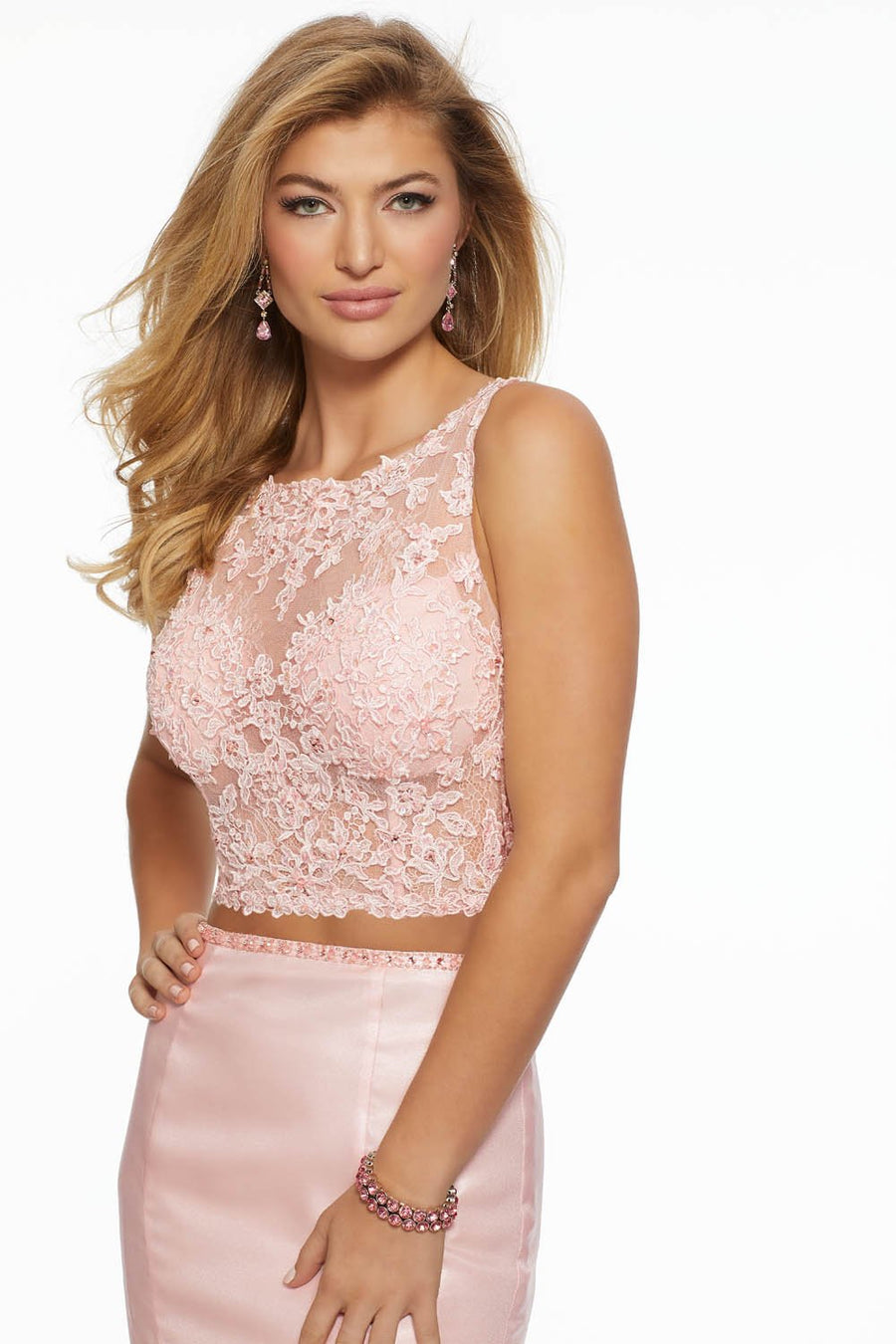 Morilee 43077 prom dress images.  Morilee 43077 is available in these colors: Blush, White.